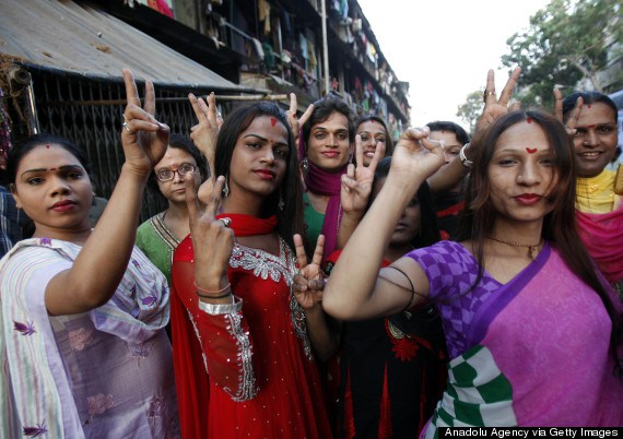 MUMBAI, INDIA - APRIL 15: Indian transgenders in Mumbai delighted after the Supreme Court granted recognition to them as third category of gender on April 15, India. The court ordered the centre and the states to recognise transgenders as a class apart from male and female. (Photo by Imtiyaz Shaikh/Anadolu Agency/Contrbibutor)