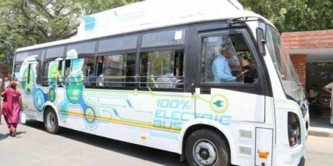 New White Coloured Electric Bus Is On Experimental Run For 15 Days In Chandigarh